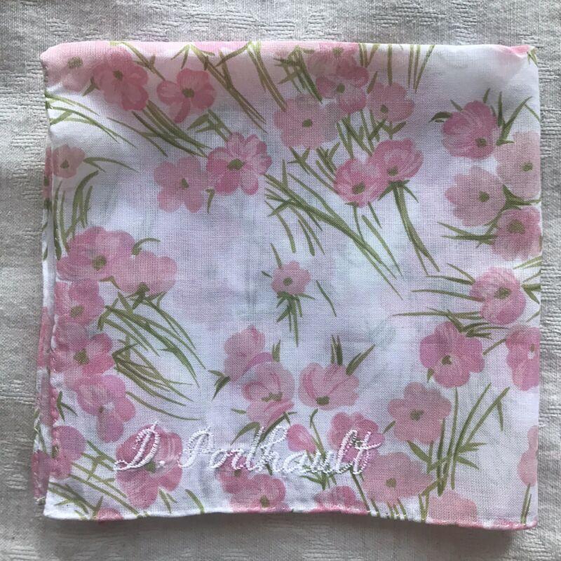 d porthault Cotton Voile Flower Printed Handkerchiefs $40,00 Each (2 Available)