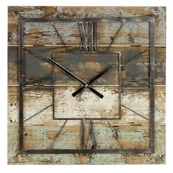Oversized Wall Clock Modern Farmhouse Rustic Country Industrial Wood Plank 27.5