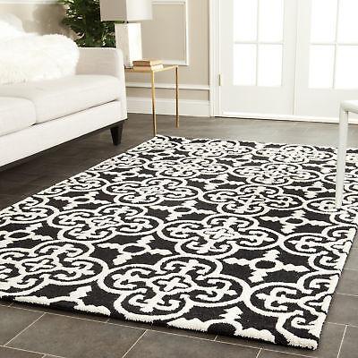 Safavieh Cambridge BLACK / IVORY Wool Contemporary Area Rug - CAM133E Black Contemporary Wool Rug