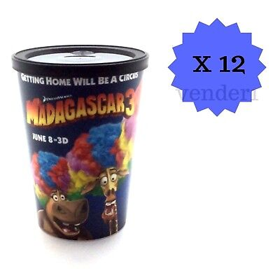 Movie Theater Party Supplies (New Madagascar 3 Movie Theater 12oz Reusable Cups with Lids,)