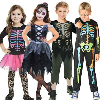 Zombie Untoter Skelett Junge Mädchen Kostüm Halloween Karneval Day of the Dead