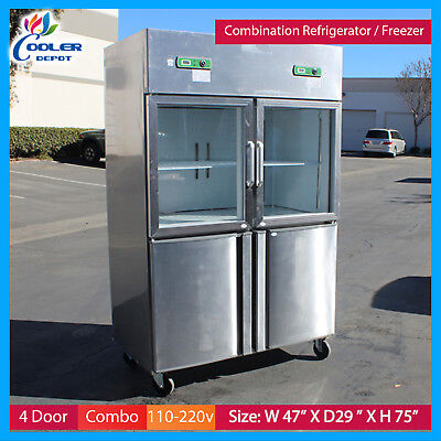 Freezer And Refrigerator 4 Door Commercial Combo Cooler Restaurant Equipment New