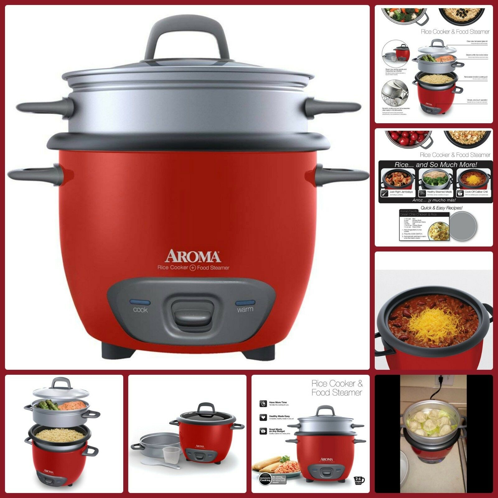 pot style rice cooker and meat vegetables