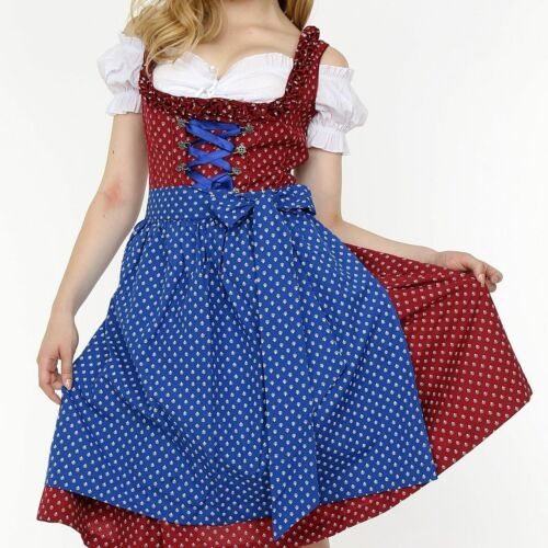 Sz 14.Germany,German,Trachten,May,Oktoberfest,Dirndl Dress,3-pc.Red-Brown,Blue