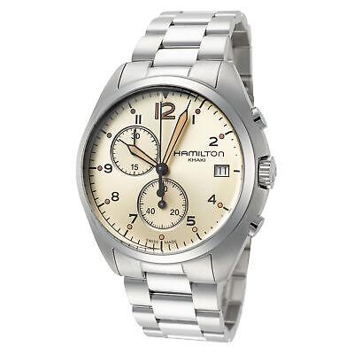 Hamilton Men's Khaki Aviation H76512155 41mm Beige Dial SS Chronograph Watch
