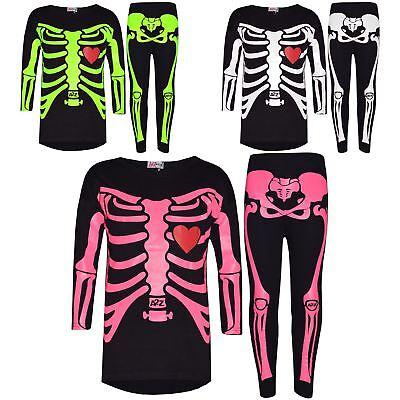 Girls Top Kids Skeleton Print T Shirt Tops & Legging Set Halloween Costume 5-13 - Girls Skeleton Leggings