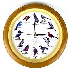 Singing Bird Wall Clock National Audubon Society Vintage 13 1/4 in Faux Wood