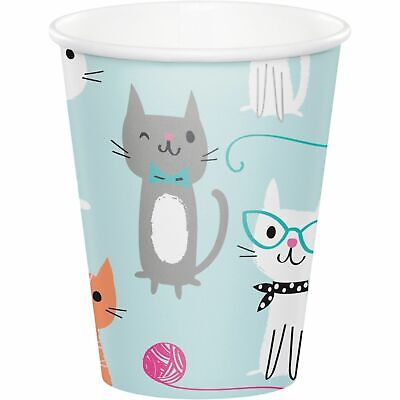 lies - Kitty Cat - Purr-fect Party Cups 266ml Pack of 8 (Kitty Cat Party Supplies)