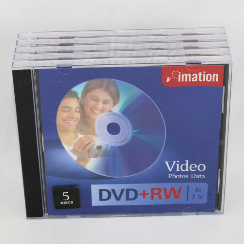 Imation DVD+RW Discs Pack of 5 4X 2 Hr Unopened
