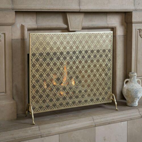 Elmer Single Panel Iron Fire Screen Fireplace Screens & Doors