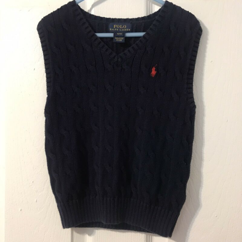 Polo Ralph Lauren Boys Cable Knit Sweater Vest Navy Blue Size 4T Preowned