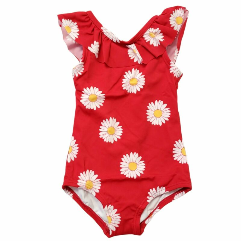 Hanna Andersson Sunblock Swimsuit Sz 2T Red Floral Ruffle One Piece 85 CM