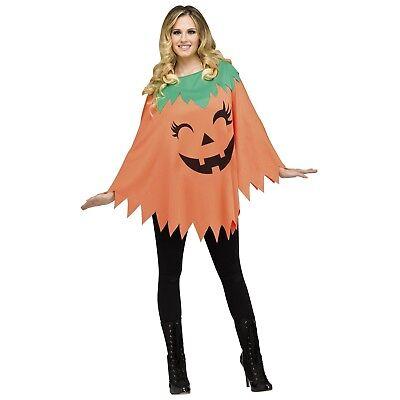 Womens Pumpkin Poncho Classic Jack O'Lantern Cape Easy Mom Halloween Costume