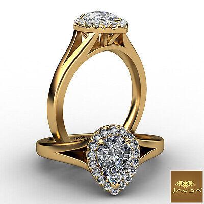 French U Pave Set Split Shank Halo Pear Diamond Engagement Ring GIA H VS2 0.7Ct
