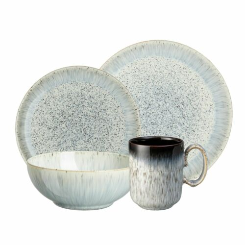 Denby Halo Gray Speckle 16 pc Tableware Set - Dinner Plates, Cereal Bowls Mugs