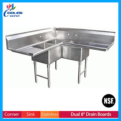 Corner Sink 3 Compartment Nsf Commercial Stainless Steel