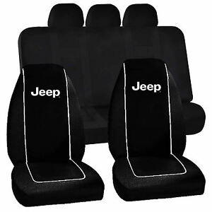 Jeep Logo Black High Back Seat Covers Racing UAA Universal Fit Bench Cover