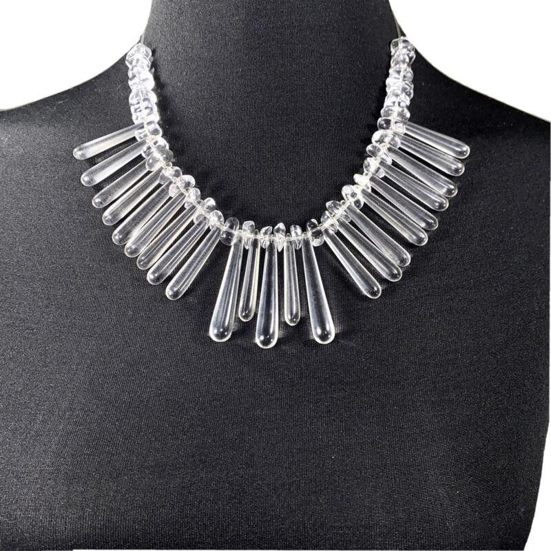 Vintage Clear Lucite Bib Necklace