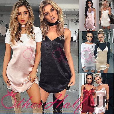 UK Womens Slip Dress Silky Satin Strappy Ladies Mini Party Summer Size 6-14 Mini Womens Slip