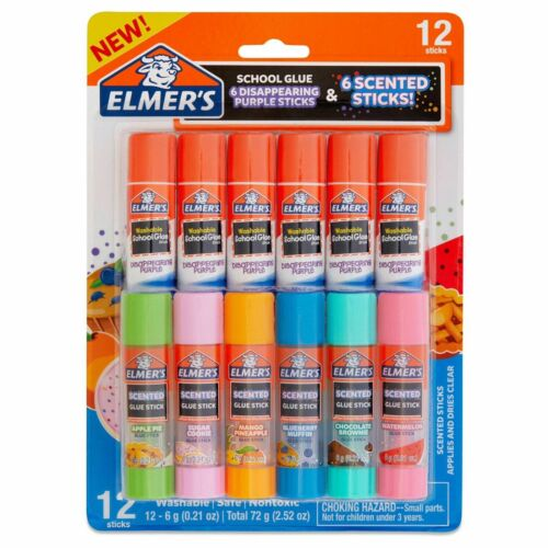 Elmer's 12 Glue Sticks - 6 Scented & 6 Disappearing Purple - Safe Non-Toxic New