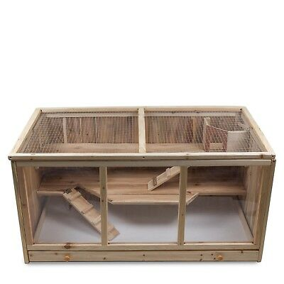 XXL Hamsterkäfig Kleintierkäfig Nagerkäfig  aus Holz naturbelassen mit 3 Etagen✔ Hamster ✔ Nager ✔ Mäuse ✔ viel Bewegungsfreiheit ✔