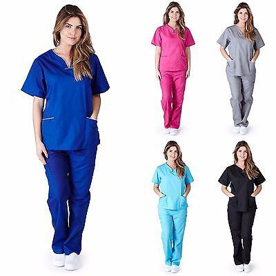 Medical Nurse Women Natural Uniforms Contrast Scallop Scrubs Sets Size XS - XL