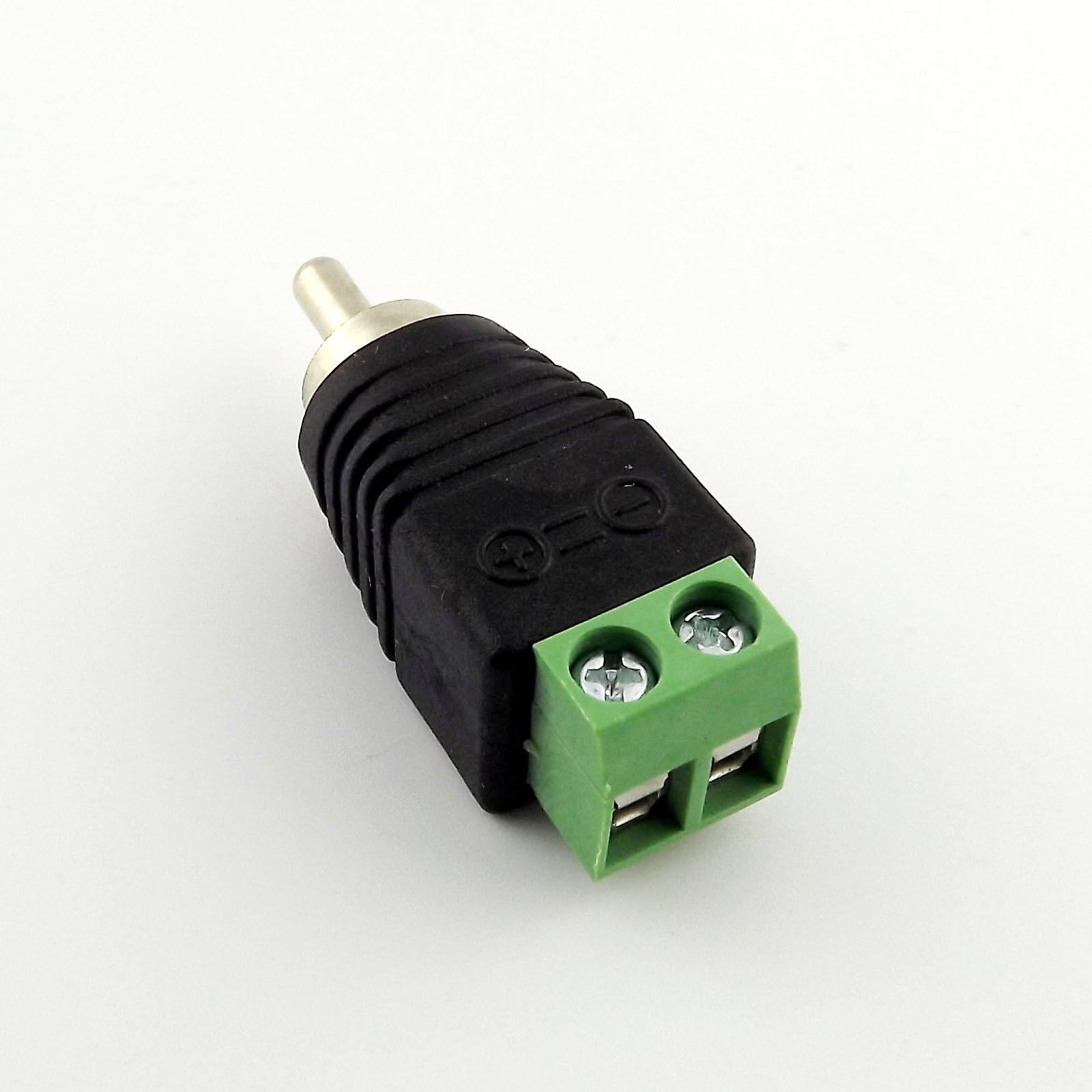 1x RCA Phono Male Plug TO  CCTV Video AV Balun AV Screw Terminal Plug Connector