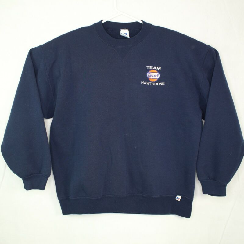 Vintage GULF OIL Gas Racing Crewneck Pullover Sweater 80's 90's Rare USA Made XL