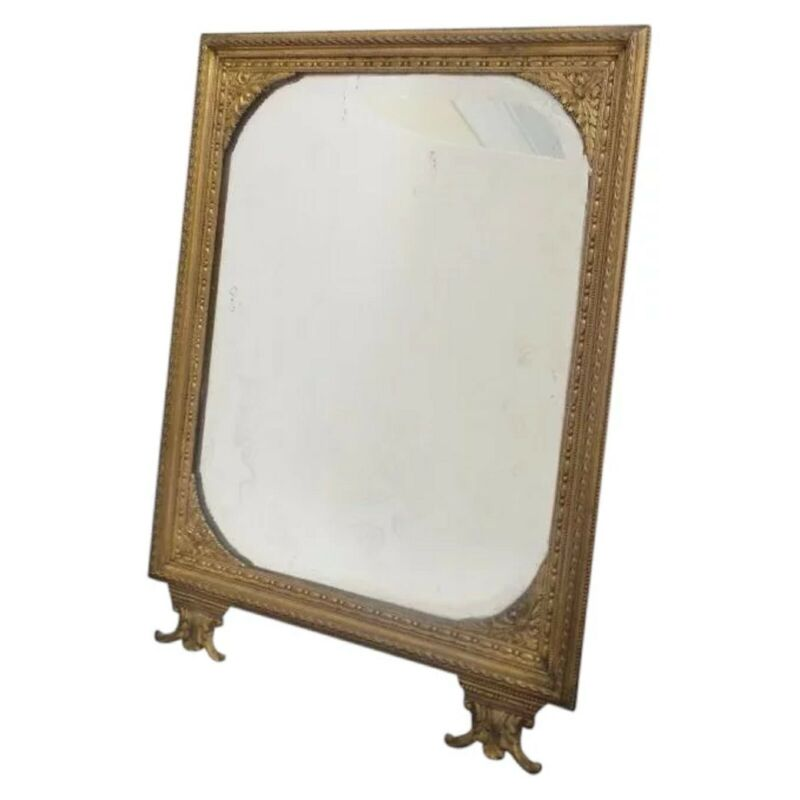 Antique French Bronze Picture Frame or Table Mirror