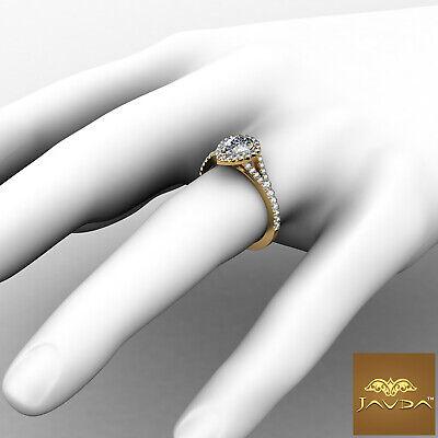 Halo Split Shank Womens Pear Diamond Engagement French U Pave Ring GIA G VS2 1Ct 3