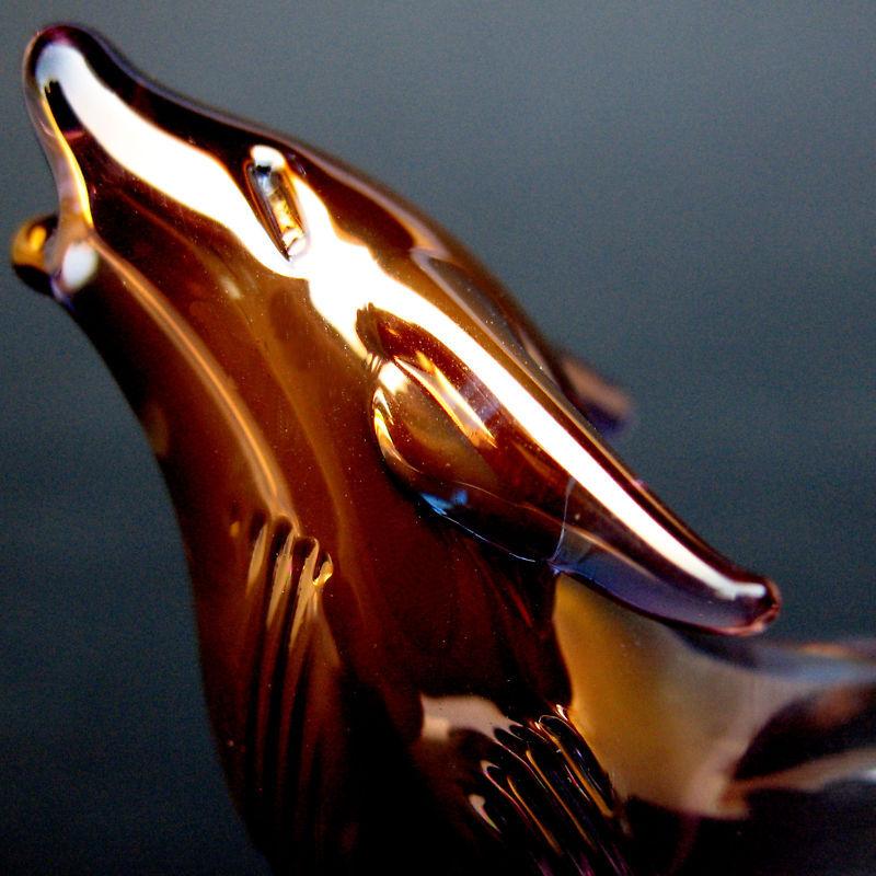 Wolf Figurine Sculpture of Hand Blown Glass Collectible