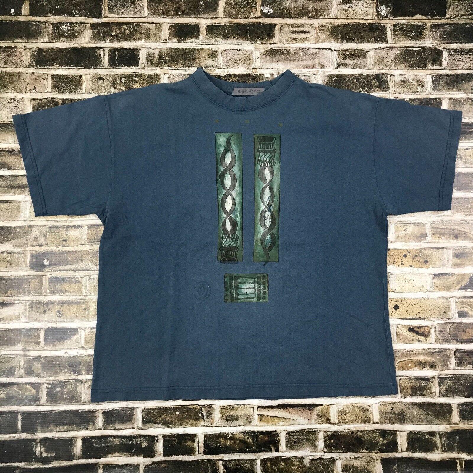 BLUE FISH T shirt - Large - Blue USA Made Hand Pri