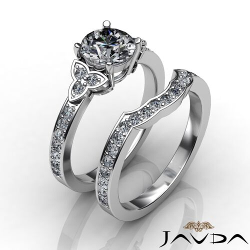Round Shape Natural Diamond Engagement 2.1ct GIA F VS1 Platinum Bridal Set Ring