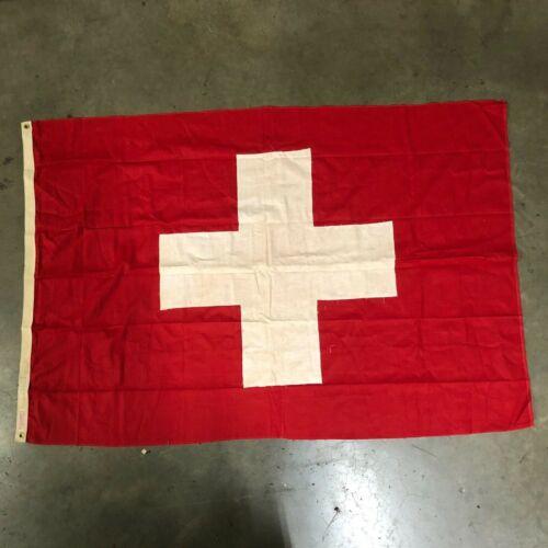 Original1950s Switzerland Swiss Flag 4 ft x 6 ft Rare Movie Prop