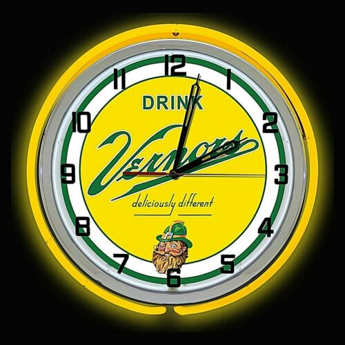 """19"""" VERNORS Deliciously Different Ginger Ale Sign Yellow Double Neon Clock"""