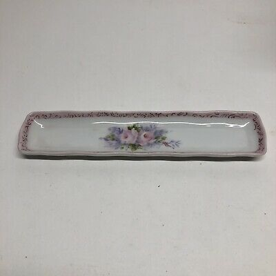 Vintage Porcelain Girl Jewelry Tray Trinket Dish Rectangular Flowered