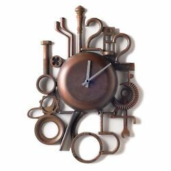 Modern Industrial Wall Clock Vintage Retro Metal Clock Creative Design - Brown
