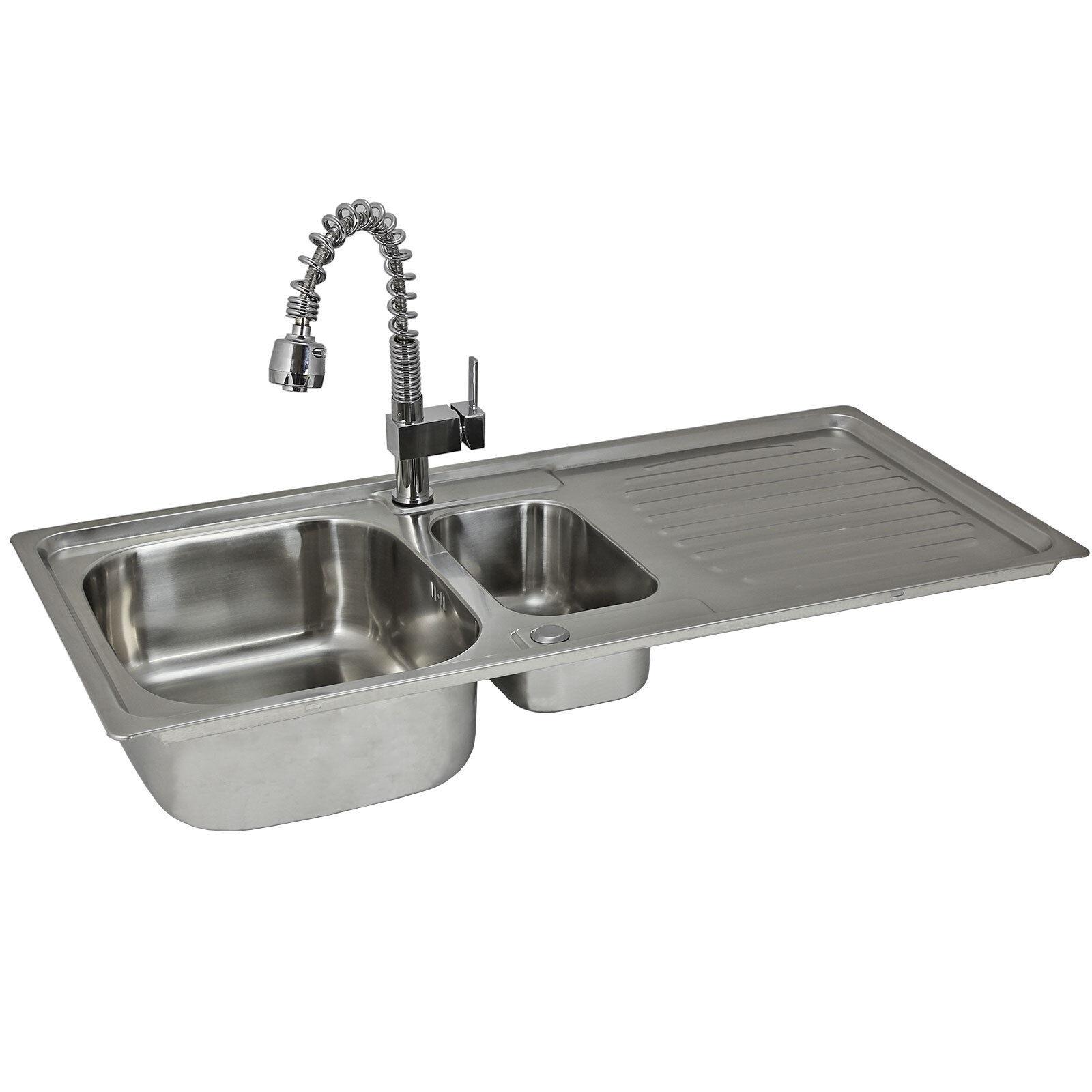 1,5-Becken Küchenspüle Einbauspüle Spülbecken mit Armatur aus Edelstahl