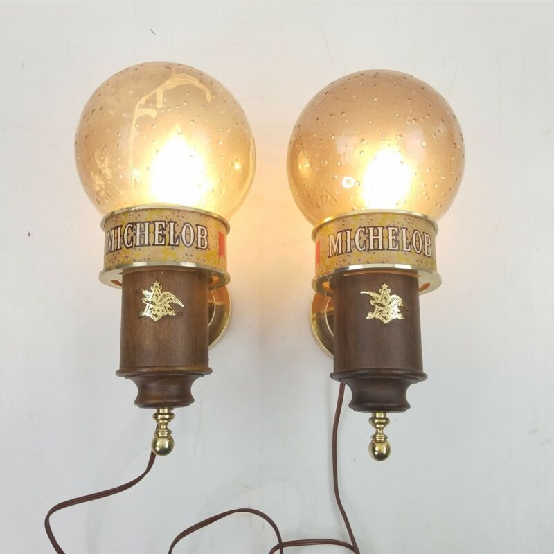 """Set of 2 Vintage MICHELOB Beer Advertising Wall Light Frosted Globe Sconce 14"""""""