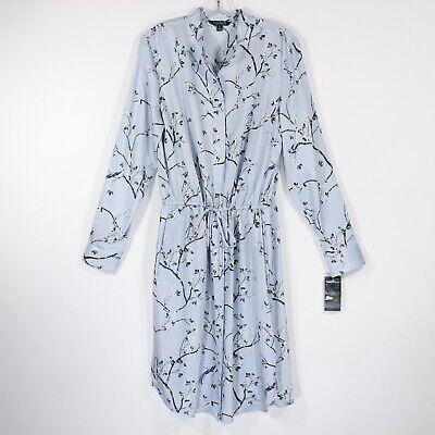 Ralph Lauren Women's Light Blue Floral Print Long Sleeve Dress | Size 12 | NWT