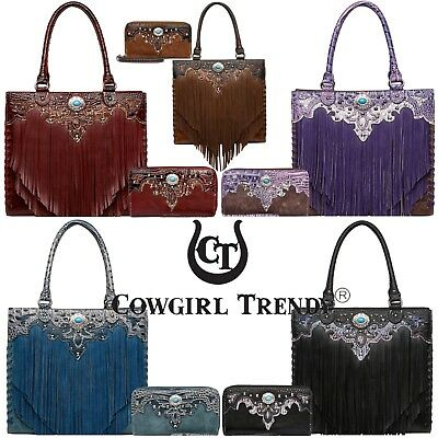Fringe Concho Western Handbag Concealed Carry Purse Women Shoulder Bag / Wallet