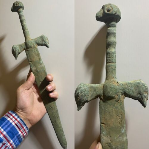 Unique old Ancient Birds Ram head Roman Wonderful Bronze Excellent 42CM SWORD