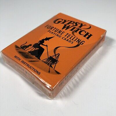 Vintage Gypsy Witch Fortune Telling Tarot Playing Cards Deck Orange Complete Gypsy Witch Deck