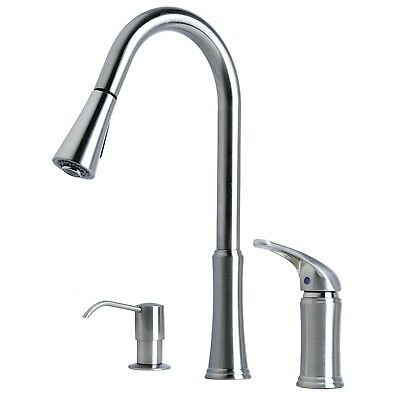 Contemporary Stretch-Down Kitchen Faucet with Soap Dispenser Stainless Steel Finish