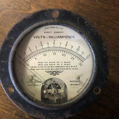 Vintage Jewell Dc Current Volts Meter Gauge Wing Logo Pattern 199 Steampunk