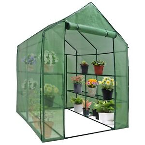 Bon 8 Shelves Greenhouse Portable Mini Walk In Outdoor 2 Tiers MINI Planter  House