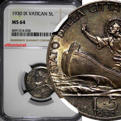 Vatican City Pius XI Silver 1930 5 Lire NGC MS64 Mintage-50,000 KM# 7