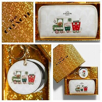 COACH Cosmetic Case & Mirror Bag Charm CC Canvas~Train/Bunny~GIFT SET~FREE SHIP!