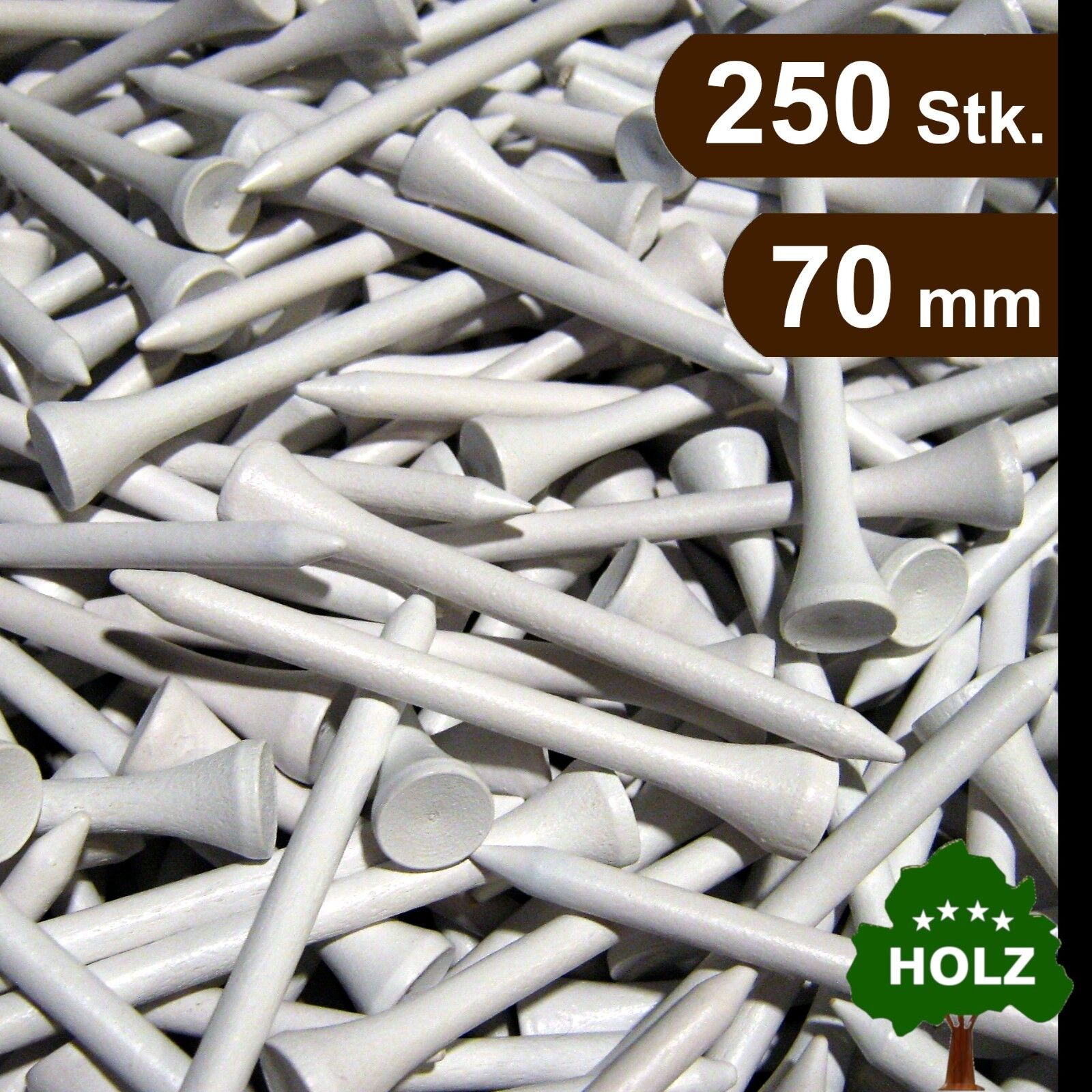 Golf Tees / Holz Tees / 70 mm / 250 Stk. / weiß / premium Qualität / Top Preis!