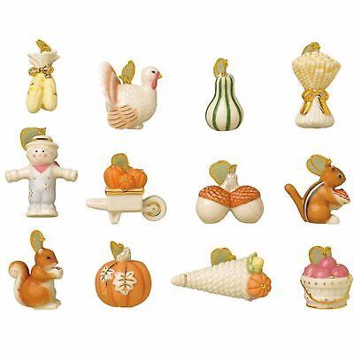 Lenox Thanksgiving Miniature Tree Ornaments 12 Autumn Delights Turkey Acorn NEW